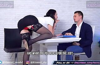 Kisscat Job Interview look over DP Hard Ass Fuck with Anal Orgasm