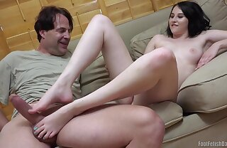 Old pervert with big dick and Kinsley Anne Foot Fetish scene