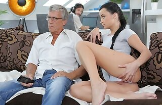 DADDY4K. Boy works in the sky adding machine while his GF seduces old guy