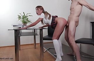 Schoolgirl Automated Sucking Big Dick Tutor coupled with  Hard Pussy Fuck