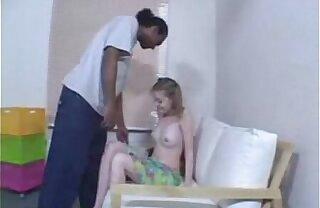 Blonde teen has interracial anal