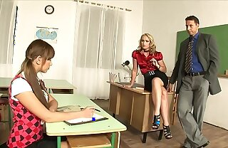 Charming Tutor Cathy Campbell calls the roguish to discipline schoolgirl and they have a hot threesome