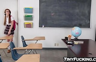Micro schoolgirl fucked in classroom by prom date